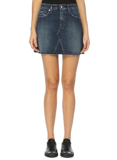 7 For All Mankind Mini Jean Etek Mavi